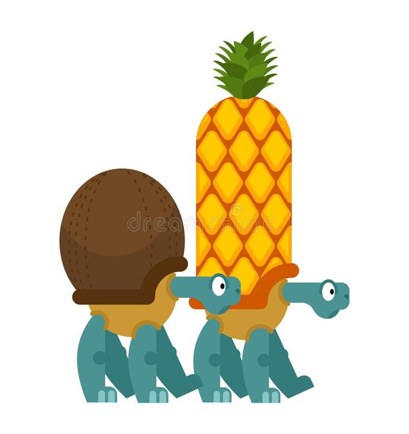 Ananas et noix de coco de tortue écaille dans la forme des Cocos reptile de Shell de fruit tropical et d'écrou illustration libre de droits