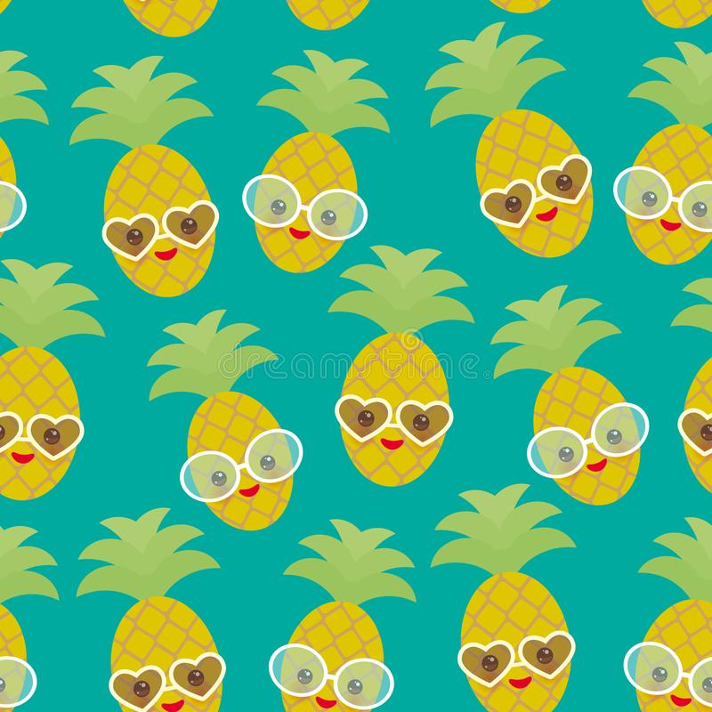Ananas exotique de fruit de kawaii drôle mignon sans couture de modèle avec des lunettes de soleil sur le fond bleu Jour d'été ch illustration libre de droits