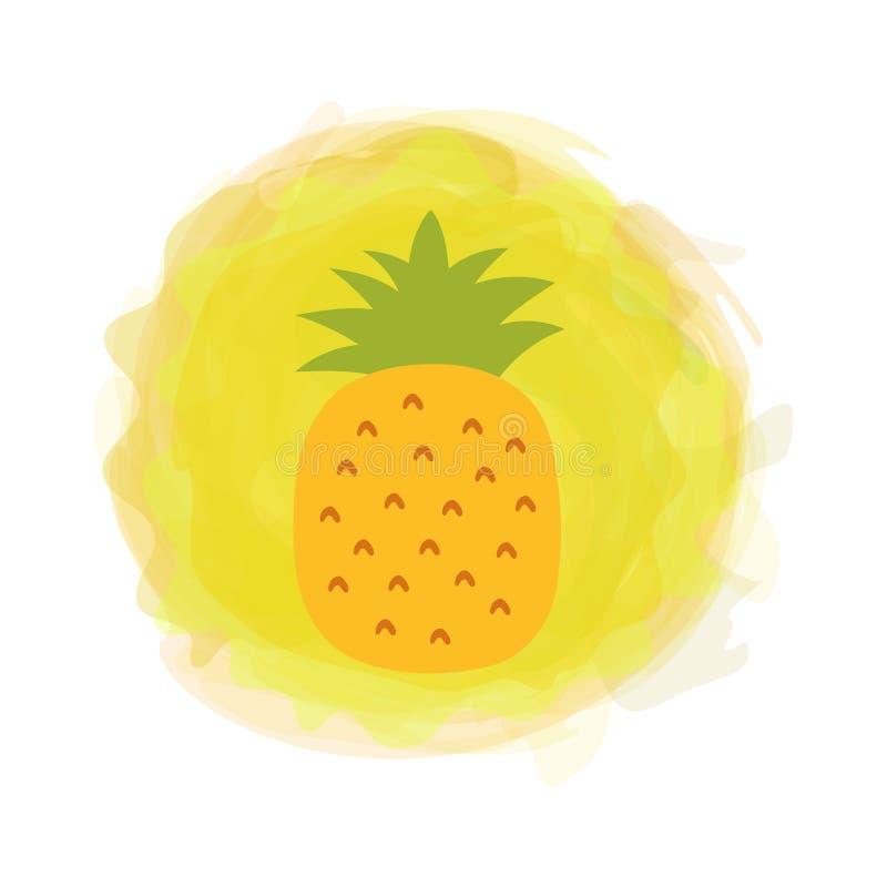 Ananas Exotischer Druck Skizzieren Sie tropische Frucht mit dem Blatt, das auf rundem Hintergrund des Aquarells lokalisiert wird  lizenzfreie abbildung