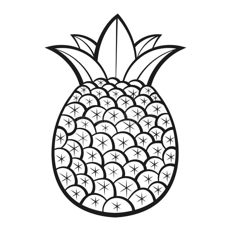 Ananas exotiska frukter med modellen vektor F?rgl?ggningbok f?r vuxna m?nniskor och barn illustrat?ren f?r illustrationen f?r han royaltyfri illustrationer