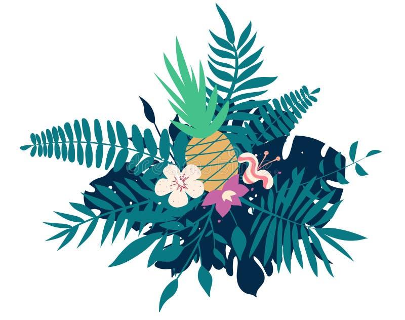 Ananas, fleurs exotiques, palmettes, feuille de jungle, orchidée, composition tropicale en art Illustration exotique de vecteur illustration stock