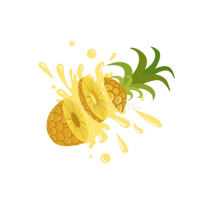 Ananas Geschnitten In Die Luft, Die Den Saft Spritzt Vektor ...