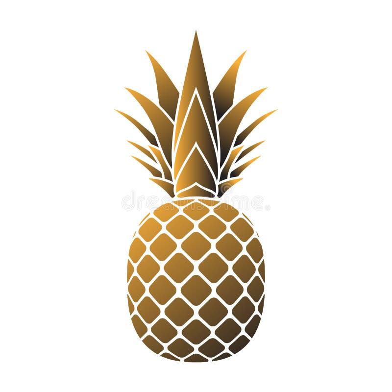 Ananas Gouden Pictogram Vector Illustratie Illustratie