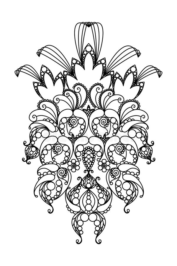 Ananas. Hand-Drawn Abstract Lace Henna Ananas. Design vektornye illustration design Elemens. Black and white Vector version is available in other formats stock illustration