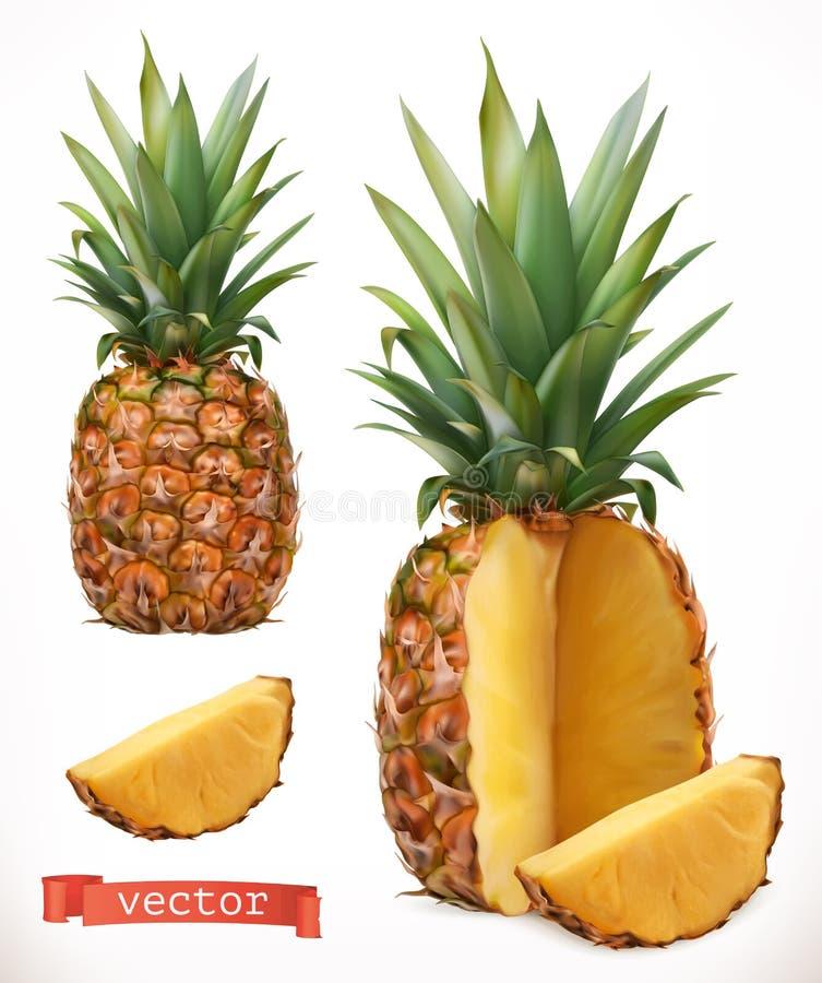 Ananas Icône de vecteur du fruit frais 3d illustration libre de droits