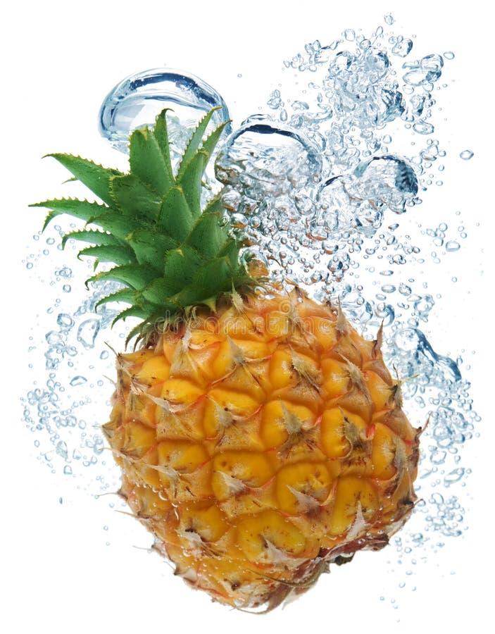 Ananas im Wasser lizenzfreies stockbild