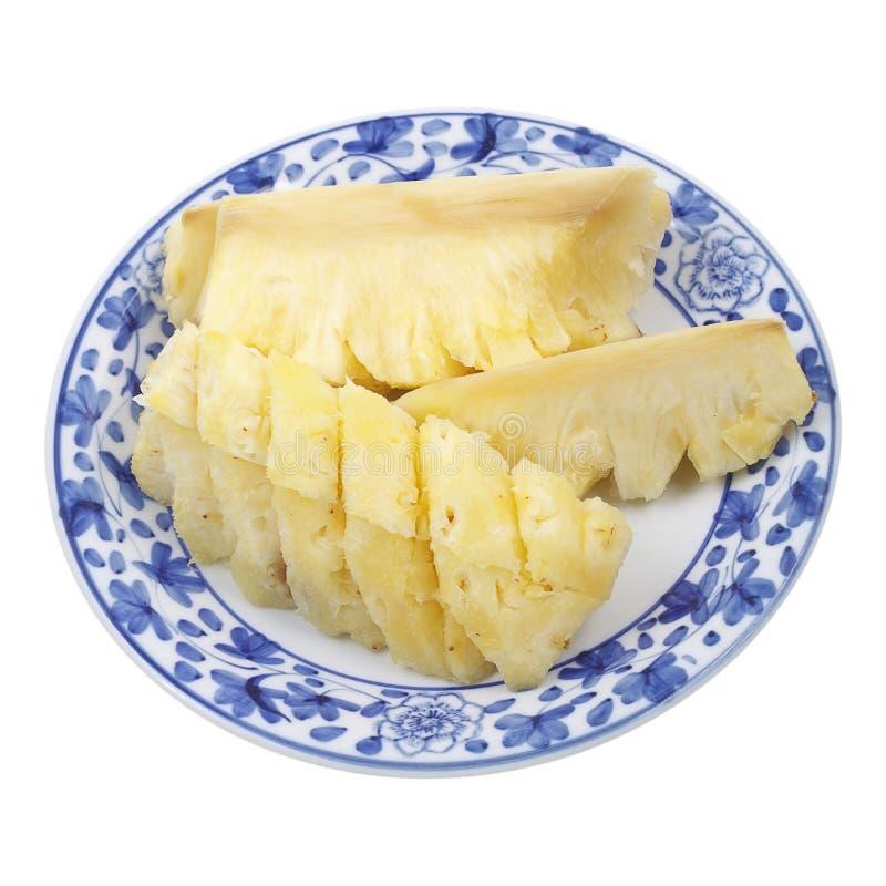 Ananas jaune du plat d'isolement sur le blanc images libres de droits