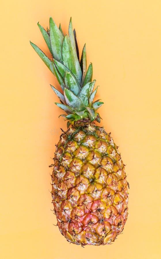 Ananas, köstliche exotische tropische Frucht Orange Hintergrund lizenzfreie stockbilder