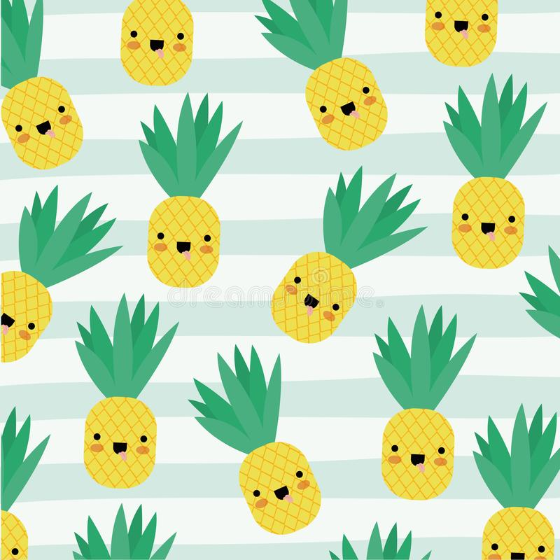Ananas kawaii Fruchtmuster stellte auf dekorative Linien Farbhintergrund ein lizenzfreie abbildung