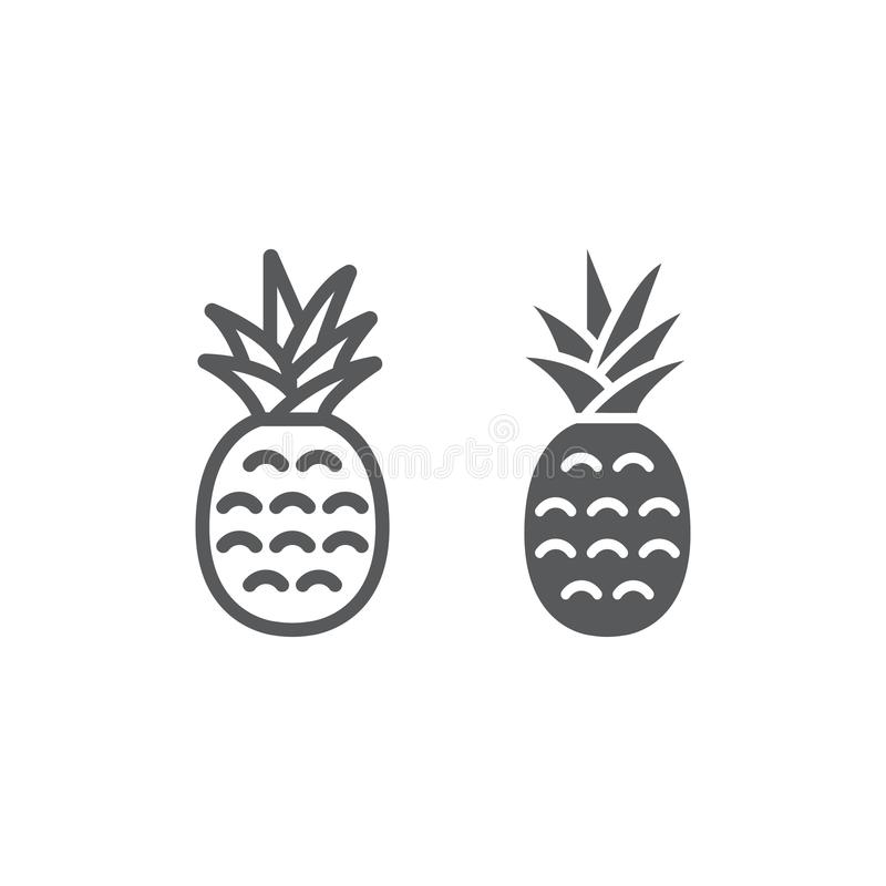 Ananas linia, glif ikona, owoc i ananas, royalty ilustracja