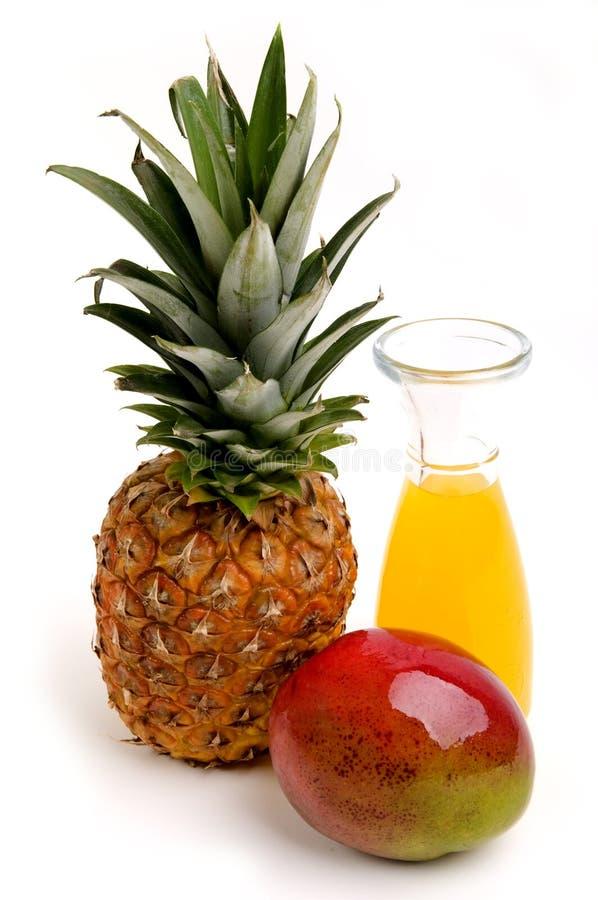 Ananas, mango och fruktsaft arkivfoto