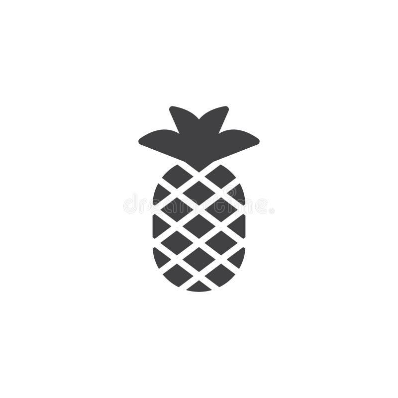 Ananas med sidavektorsymbolen royaltyfri illustrationer