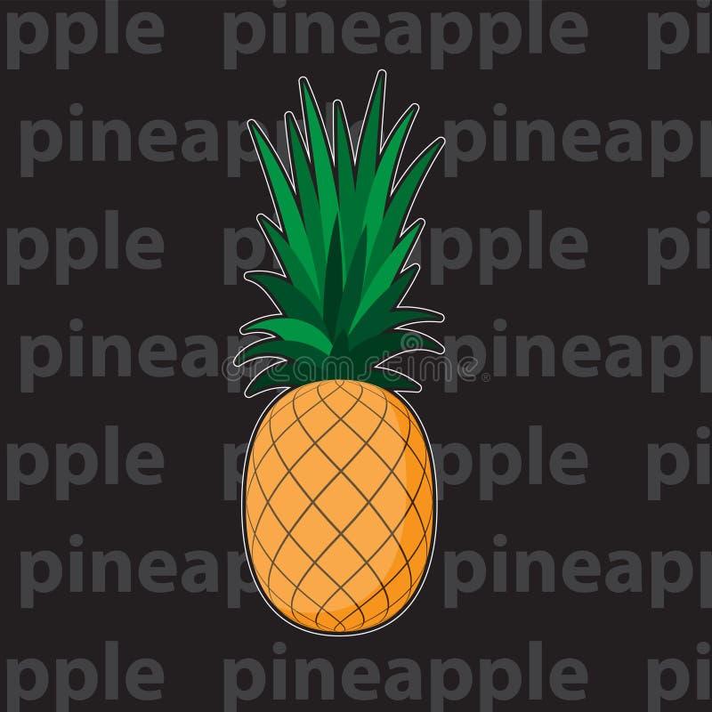 Ananas met bladpictogram Het tropische fruit isoleerde Symbool van voedsel, zoet, exotisch en de zomer, gezonde vitamine, Het ele vector illustratie