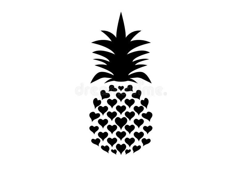 Ananas mit Blattlogoikone, Herzformentwurf tropische Frucht lokalisiert auf wei?em Hintergrund Symbol der Nahrung, süß, exotisch lizenzfreie abbildung