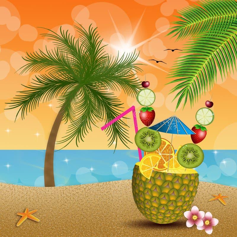 Ananas mit Früchten auf dem Strand lizenzfreie abbildung