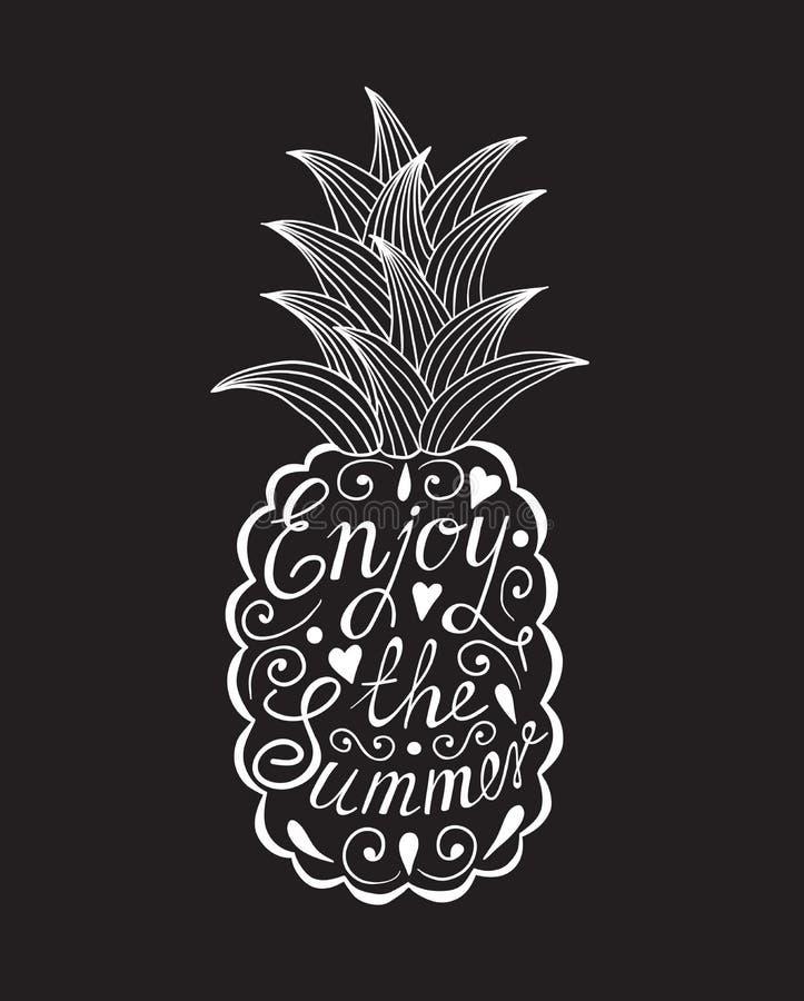 Ananas mit Motivaufschrift vektor abbildung