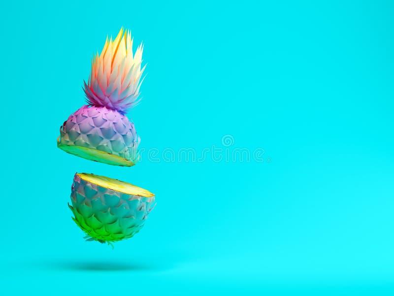 Ananas multicolore de tranche sur le rendu bleu du fond 3D image stock