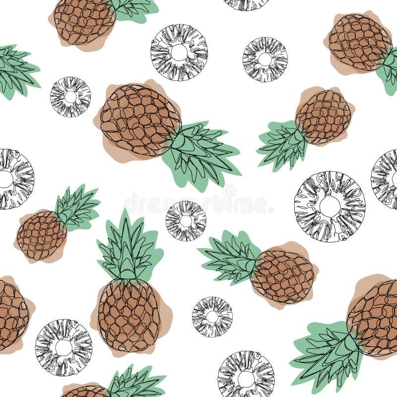 Ananas naadloos patroon op een witte achtergrond Ontwerp voor textiel, banners, affiches Vector illustratie Overzichtspictogram C royalty-vrije illustratie