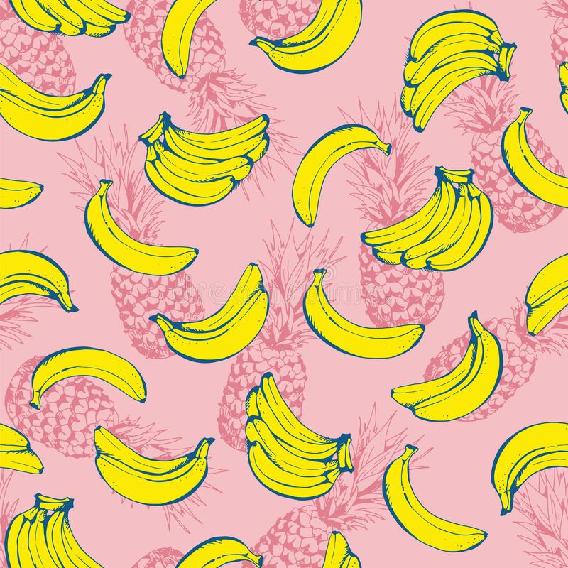 Ananas naadloos patroon, vectorachtergrond met ananassen en bananen royalty-vrije illustratie