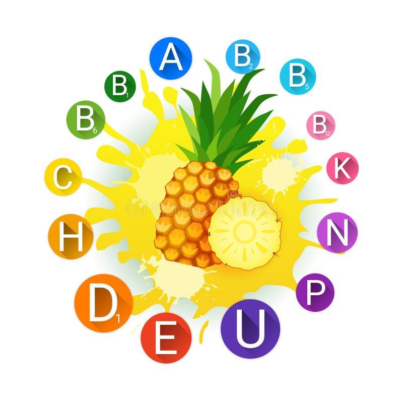 Ananas Nad farby pluśnięcia tła Świeżym sokiem I witamina loga Naturalnymi Karmowymi produktami rolniczymi royalty ilustracja
