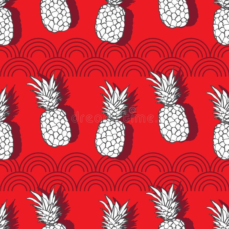 Ananas-Nut-Frucht-Freude Nahtlose Wiederholungs-Musterillustration Hintergrund im roten Weiß und im Grau stock abbildung