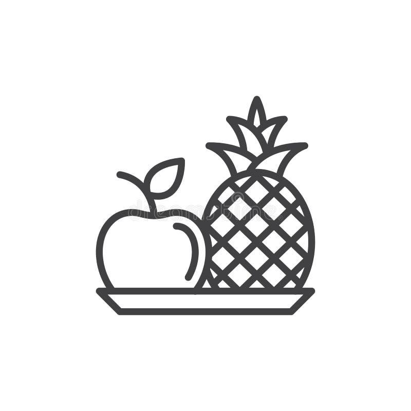 Ananas- och äpplelinje symbol stock illustrationer
