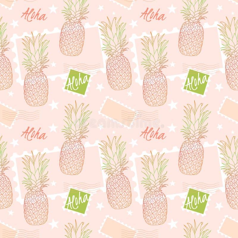 Ananas och portostämplar, sömlös modell på en sorbetrosa färgbakgrund Aloha hjälpmedel Hello i Hawaii Fruktleverans stock illustrationer