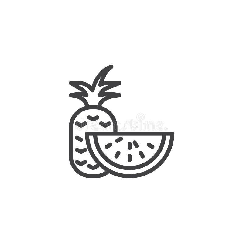 Ananas- och vattenmelonskivalinje symbol stock illustrationer