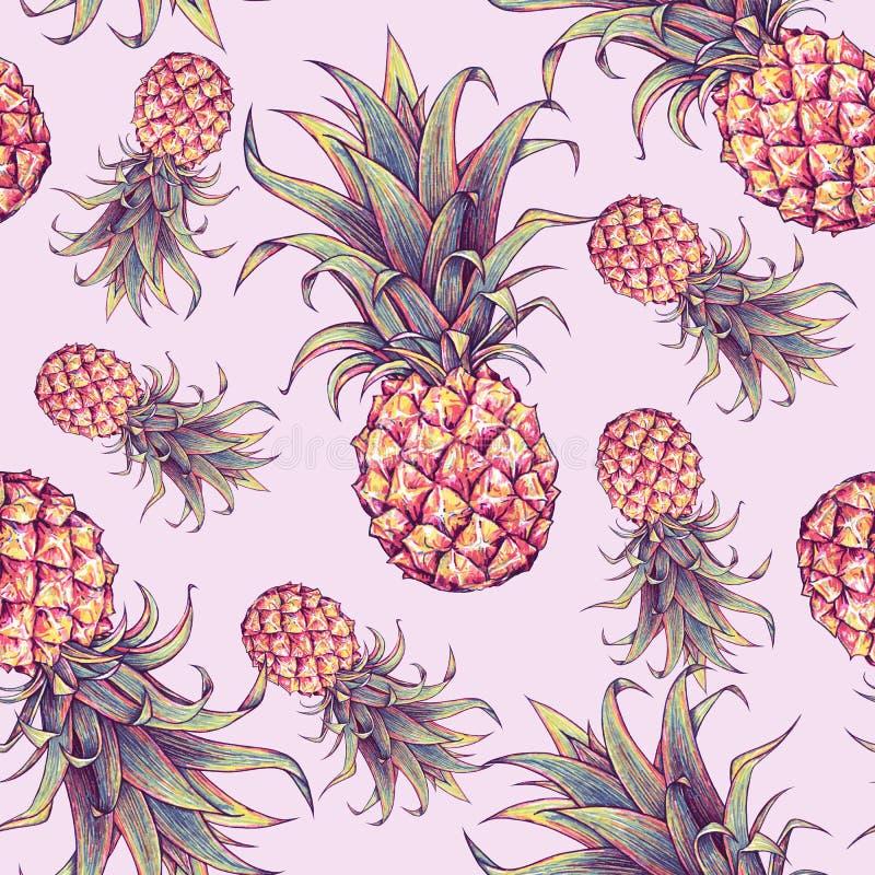 Ananas på en rosa bakgrund Färgteckningsmarkörer tropisk frukt seamless modell stock illustrationer