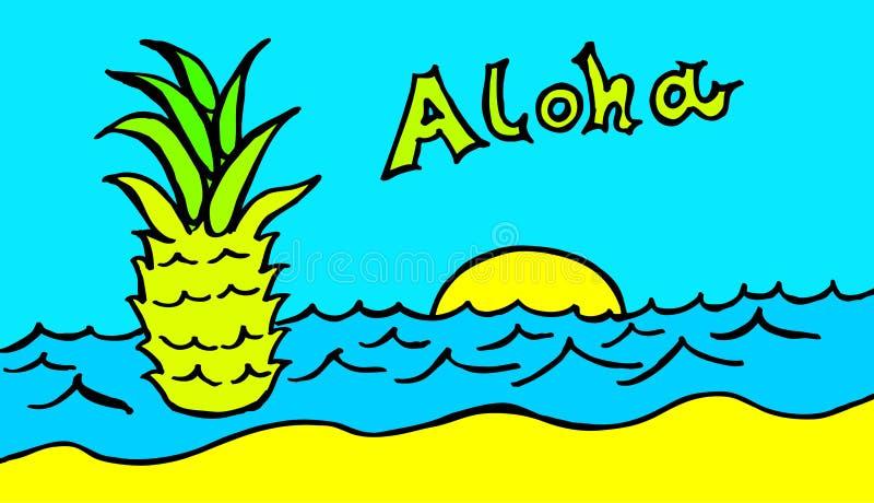Ananas pływa w błękitnym morzu pod turkusowym niebem z Hawajskim powitaniem royalty ilustracja