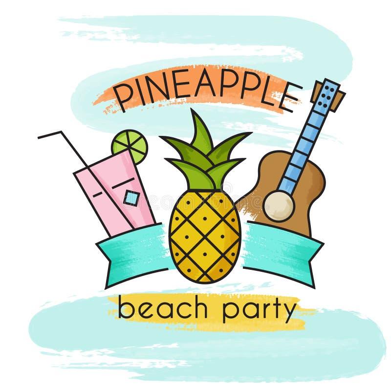 Ananas plaży przyjęcie Akwarela sztandar ilustracji