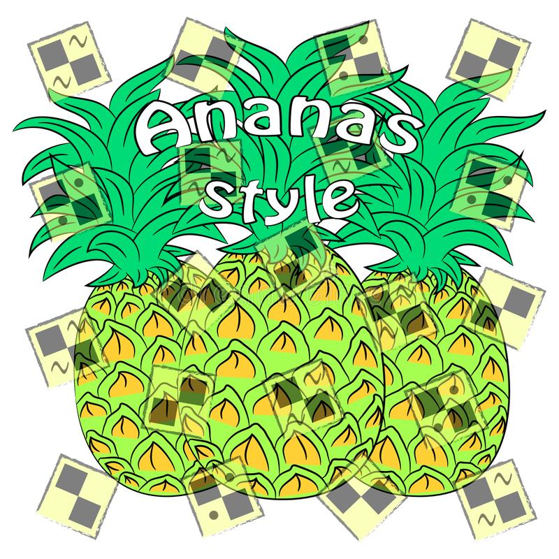 Ananas style vector illustration. pineapple summer time poster. vector illustration
