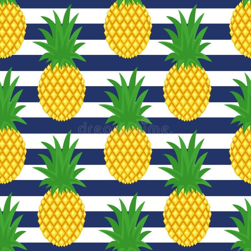 Ananas sur le fond rayé Modèle mignon d'ananas de vecteur illustration de vecteur