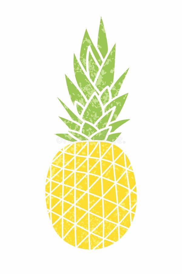 Ananas - uitstekend pictogram De tekening van het beeldverhaal Geel rijp fruitverstand vector illustratie