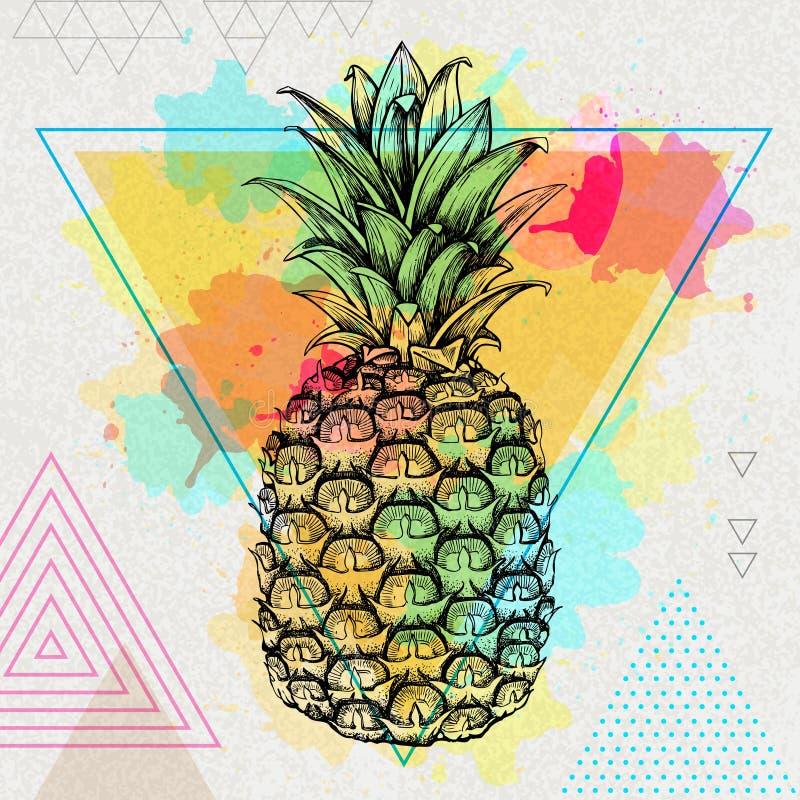 Ananas van het Hipster de realistische tropische fruit op de achtergrond van de driehoekswaterverf royalty-vrije illustratie