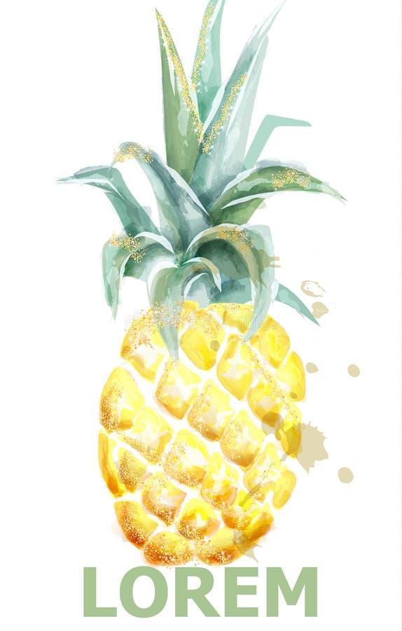 Ananas-Vektoraquarell Tropische Frucht mit Funkeln lokalisiert auf Weiß Künstlerische exotische Illustration der Ikonenschablone lizenzfreie abbildung