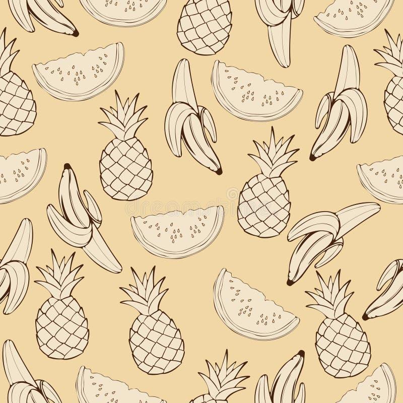 Ananas, Wassermelone, Banane in den beige Tönen, Monochrom, nahtloses Muster der Weinlese, Fruchtkarikaturhintergrund, Hand stock abbildung