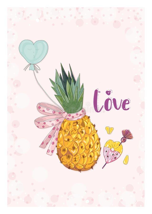 Ananas z łękiem i balon w miłości obrazy stock