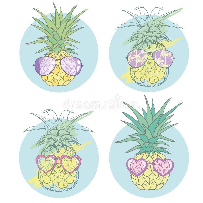 Ananas z szkłami tropikalnymi, wektorowy, ilustracyjny, projekt, egzot, jedzenie, owoc ilustracji