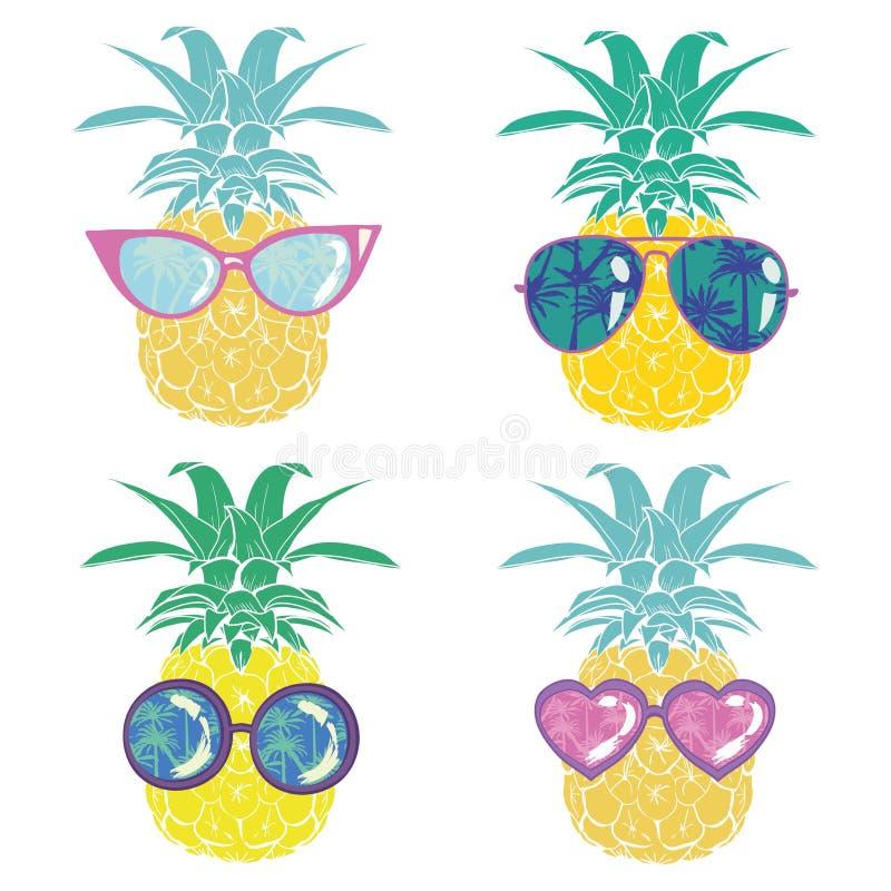 Ananas z szkłami tropikalnymi, wektorowy, ilustracyjny, projekt, egzot, jedzenie, owoc ilustracja wektor