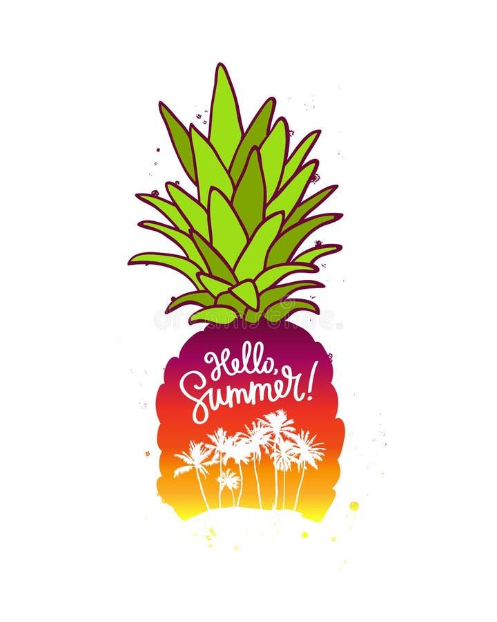 Ananasa i inskrypci lato Cześć ilustracji