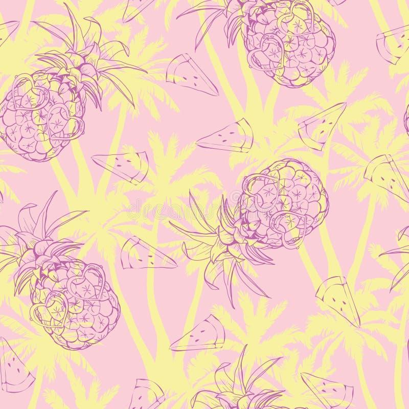 Ananasbakgrund Sömlös modell för vektor med tropisk frukt svart white Skissa illustrationen stock illustrationer