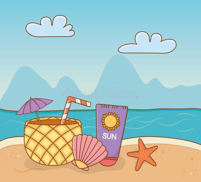 Ananascocktail- und -satzeinzelteile setzen Szene auf den Strand lizenzfreie abbildung