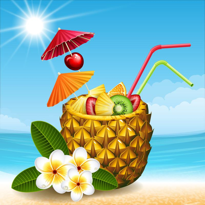 Ananascoctail stock illustrationer