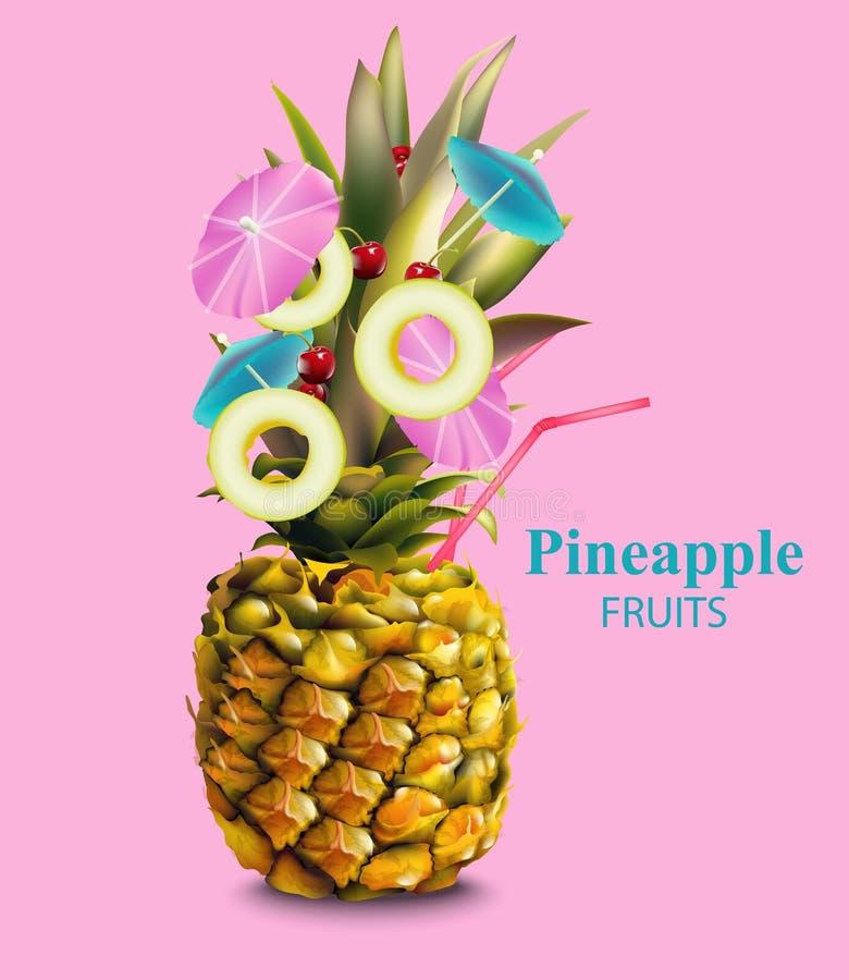 Ananasfrucht auf rosa Hintergrund Vektor stock abbildung