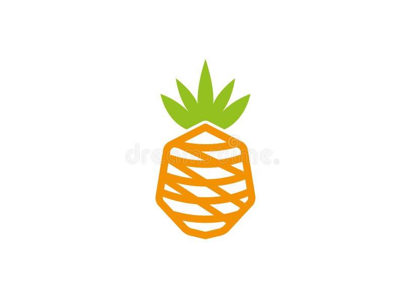 Ananasfrukt för logodesignillustration royaltyfri illustrationer