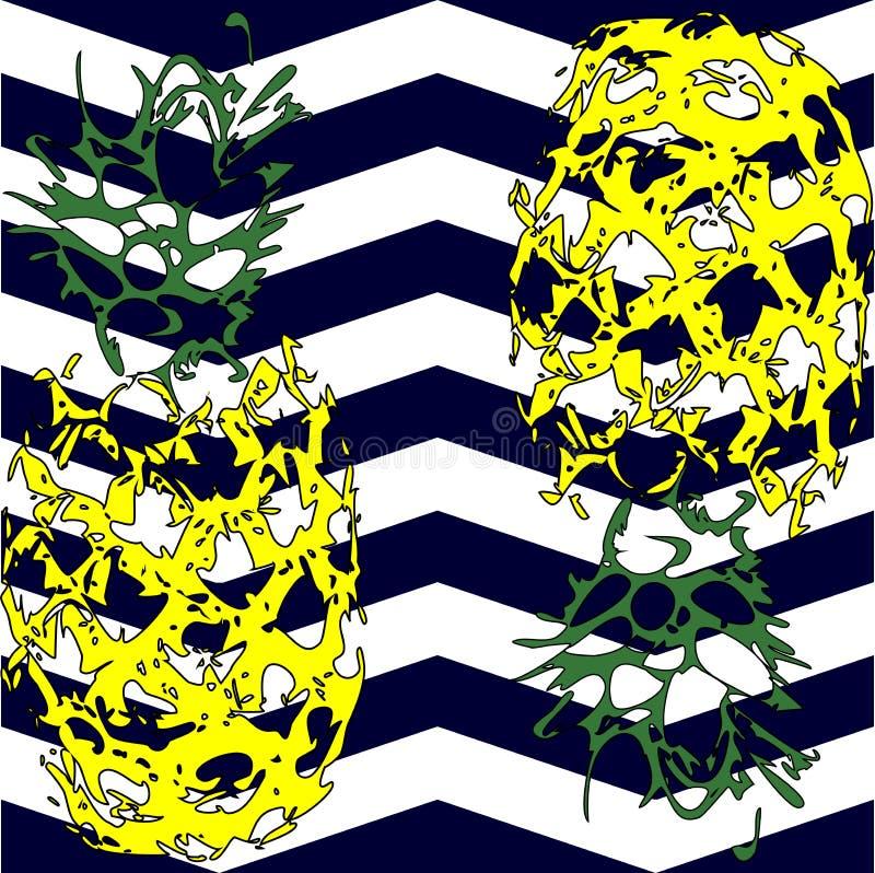 Ananasfrukt p? en vit bakgrund ocks? vektor f?r coreldrawillustration royaltyfria foton
