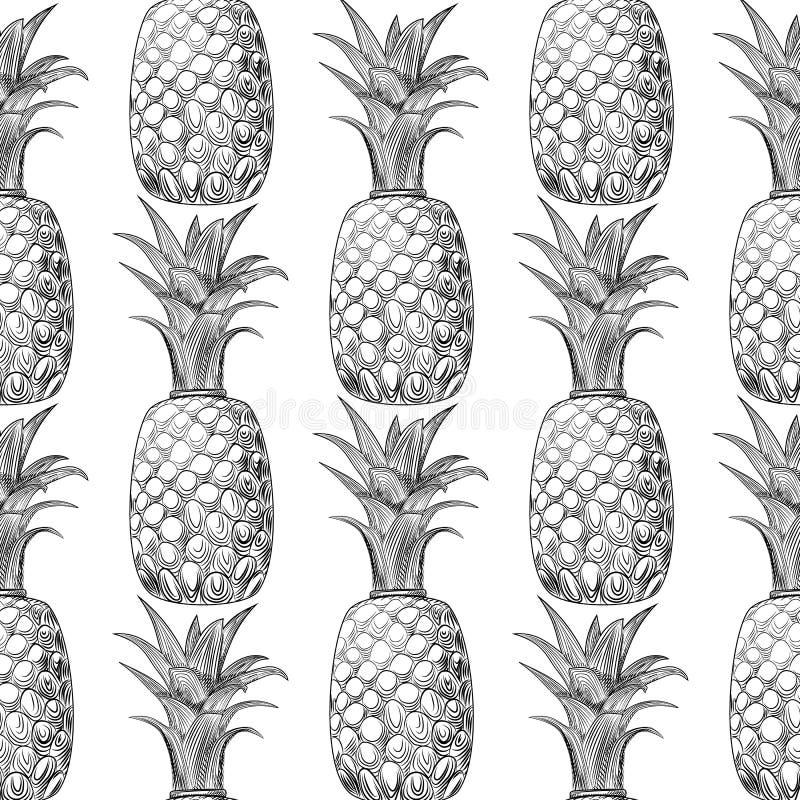 Ananasfrukt skissar den sömlösa modellen Exotisk bakgrund för tropisk frukt vektor illustrationer