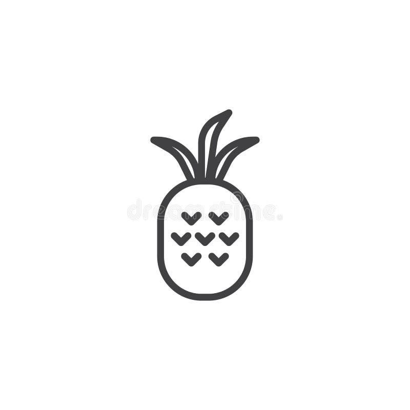 Ananasfruktlinje symbol vektor illustrationer