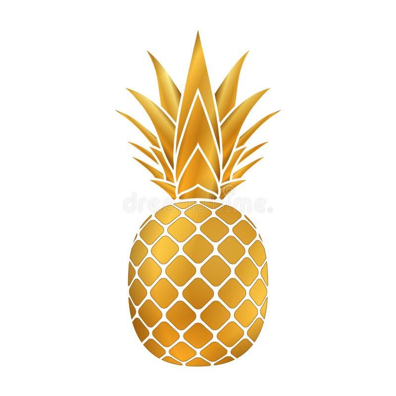 Ananasguldsymbol royaltyfri illustrationer